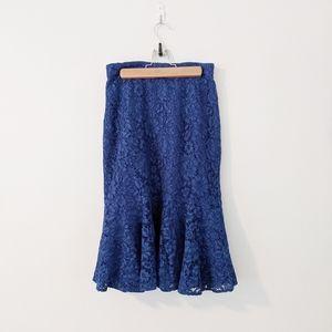 J. Crew Blue Lace Tulip Hem Trumpet Skirt